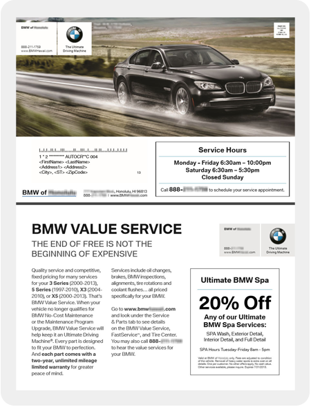 Example BMW dealership mail piece