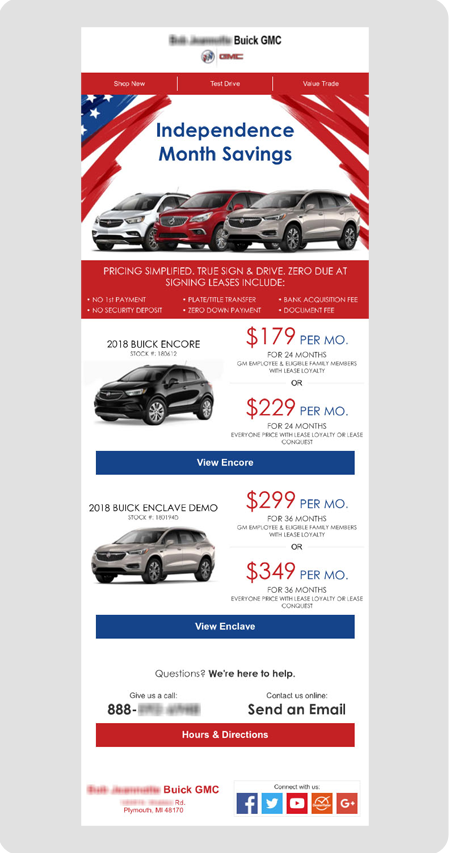 example Buick dealership email