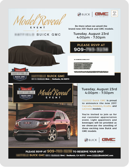 example Buick GMC dealership direct mail piece