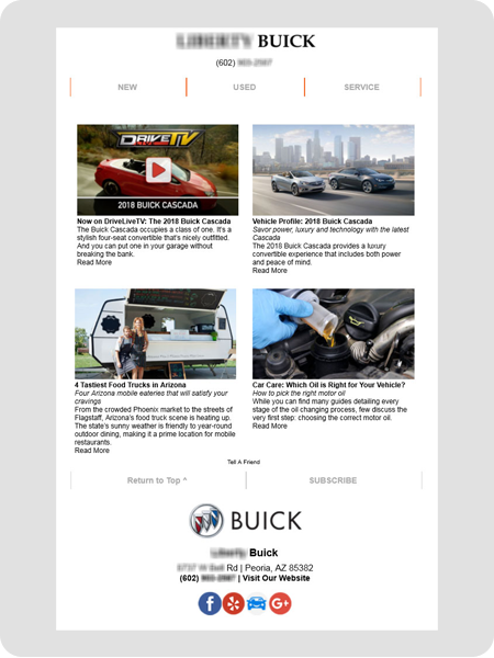 example Buick dealership newsletter