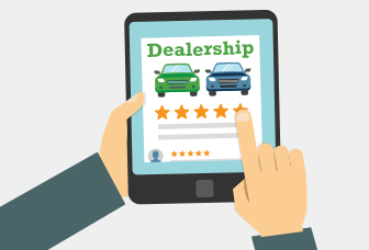Illustration of a dealership on a tablet and hand rating 5 stars