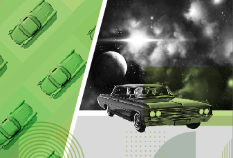retro cars with outer space background