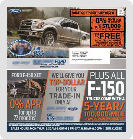 example Ford dealership direct mail piece