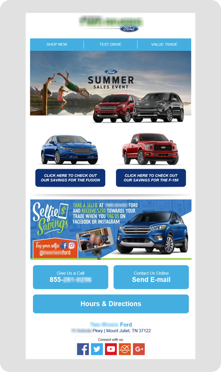 example Ford dealership email
