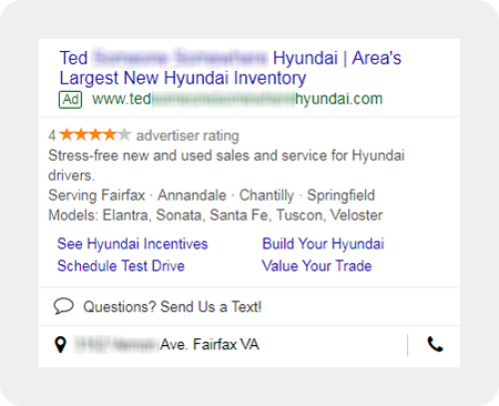 example Hyundai dealership search ad