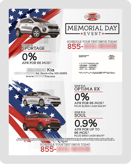 example Kia direct mail piece
