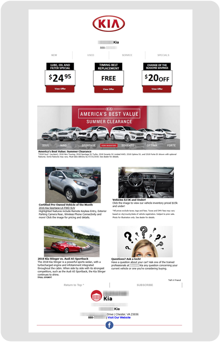 example Kia dealership enewsletter