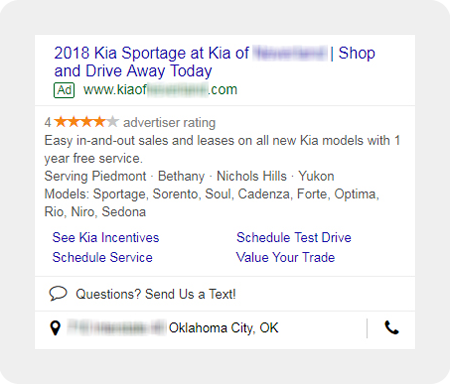 example Kia dealership search ad