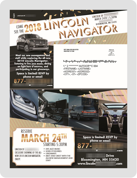 example Lincoln dealership direct mail piece