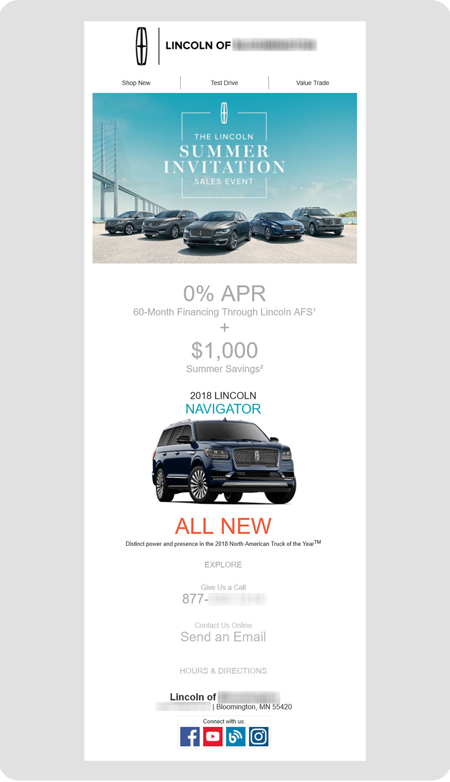 example Lincoln dealership email