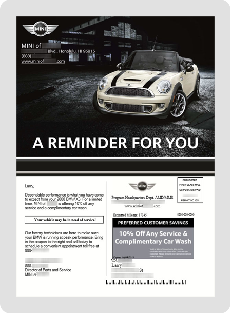 example MINI dealership direct mail piece