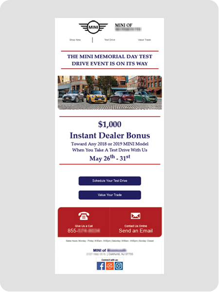 example MINI dealership email