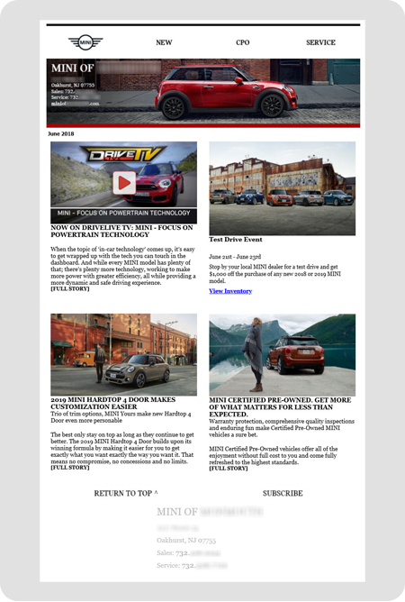 example MINI dealership enewsletter
