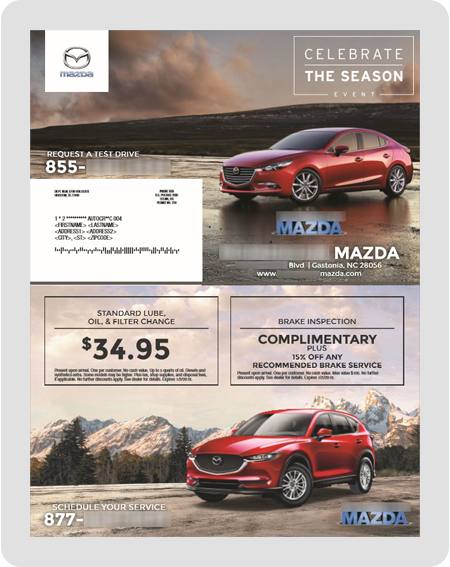 example Mazda dealership direct mail piece