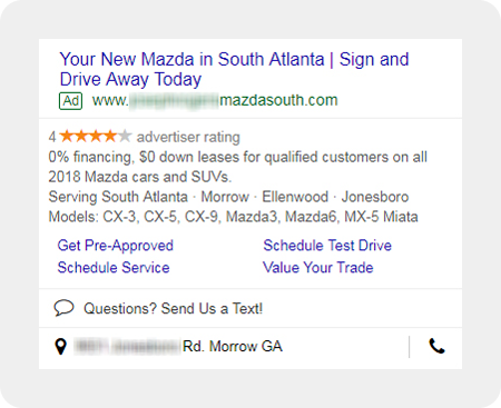 example Mazda dealership search ad