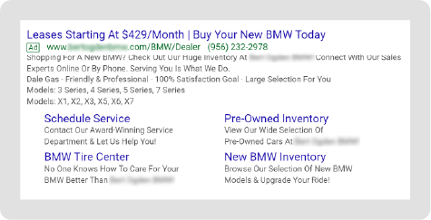 BMW Paid Search Example