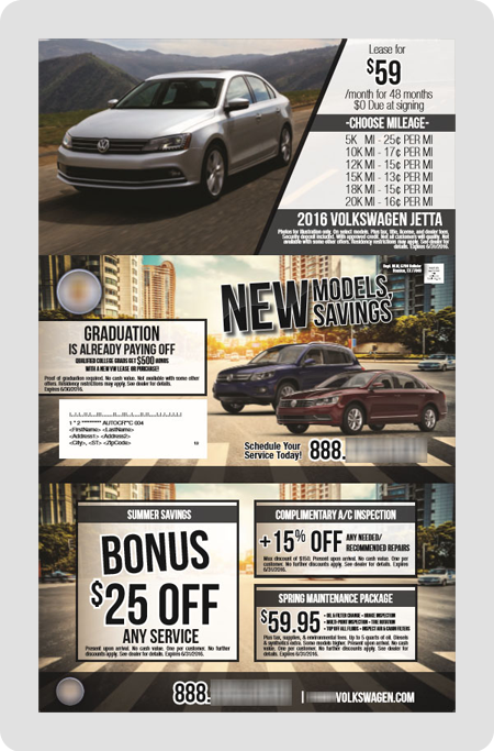 example Volkswagen dealership direct mail piece