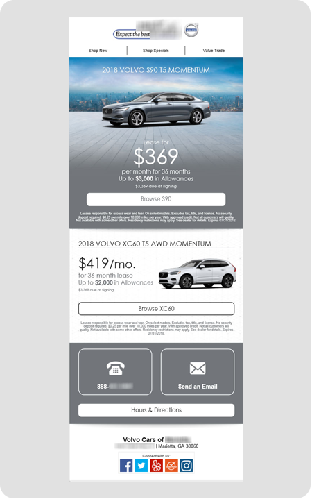 example Volvo dealership email