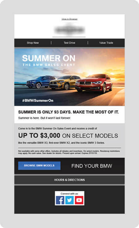 example BMW dealership email