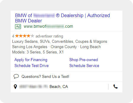 Example BMW dealership search ad
