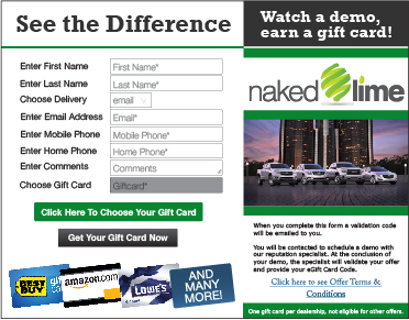 Example of lead form to claim a gift card in exchange for a product demo.