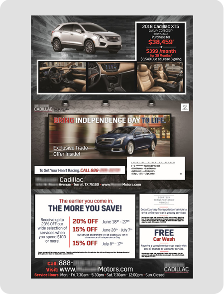 example Cadillac dealership direct mail piece