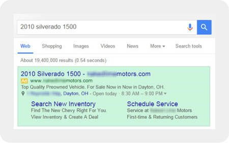 vehicle search result