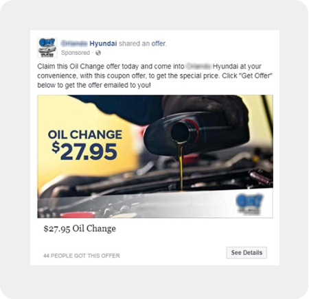 dealership social media offer