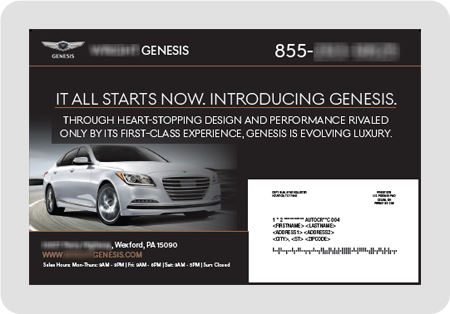 example Genesis dealership direct mail piece
