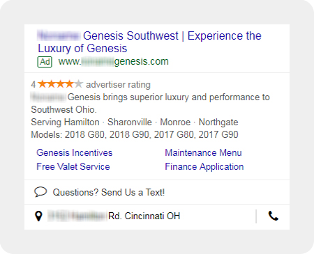 example Genesis dealership search ad