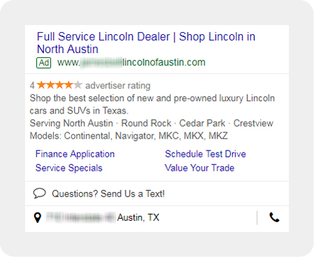 example Lincoln dealership search ad