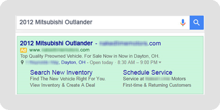 example of Mitsubishi dealer dynamic search ad result