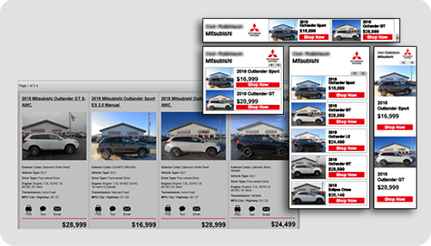 example of Mitsubishi dealership inventory display advertising
