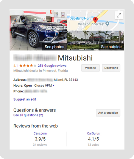 Mitsubishi dealership Google results showing rating and review sites