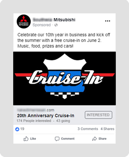 example of Mitsubishi dealership social media event ad