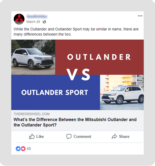 example of Mitsubishi dealership Facebook post