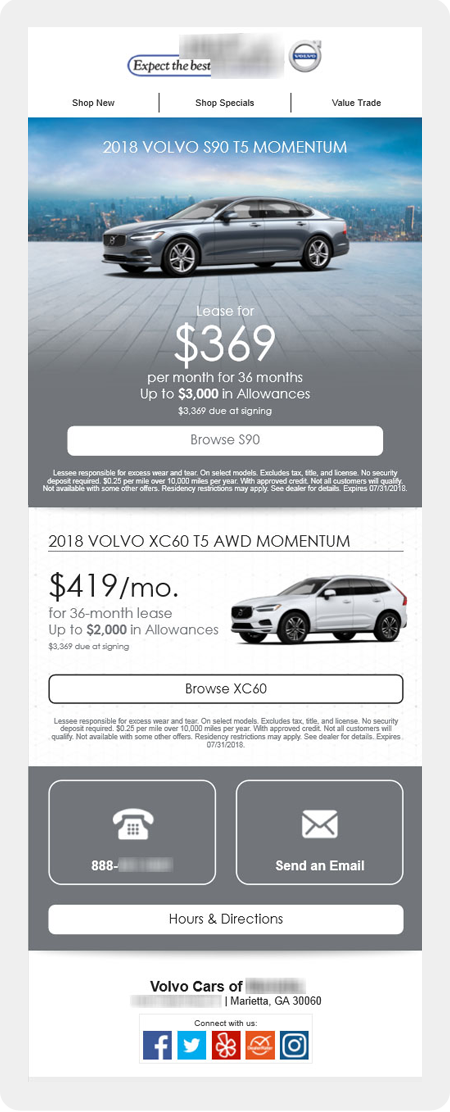 example dealership email